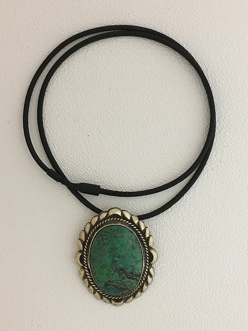 """925 & Turquoise on 18"""" Rubber Necklace with Friction Clasp"""