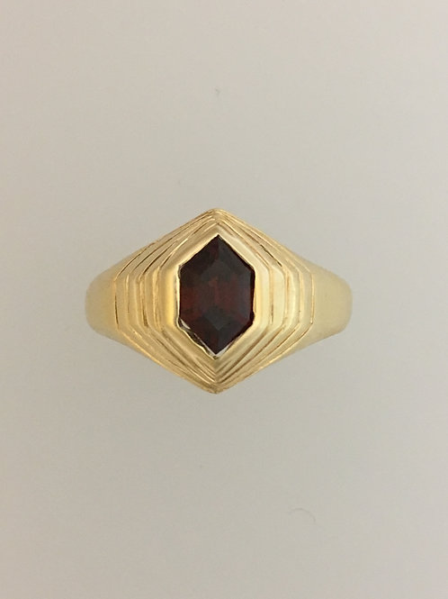 14k Yellow Gold and .80 Carat Fancy Garnet Ring Size - 10