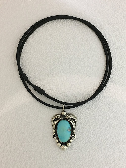 """925 Turquoise 16"""" Rubber-Friction Clasp Necklace"""