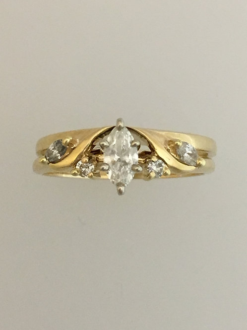 14k Yellow Gold .25 CS .36 TW Diamond Ring Size - 6 1/2