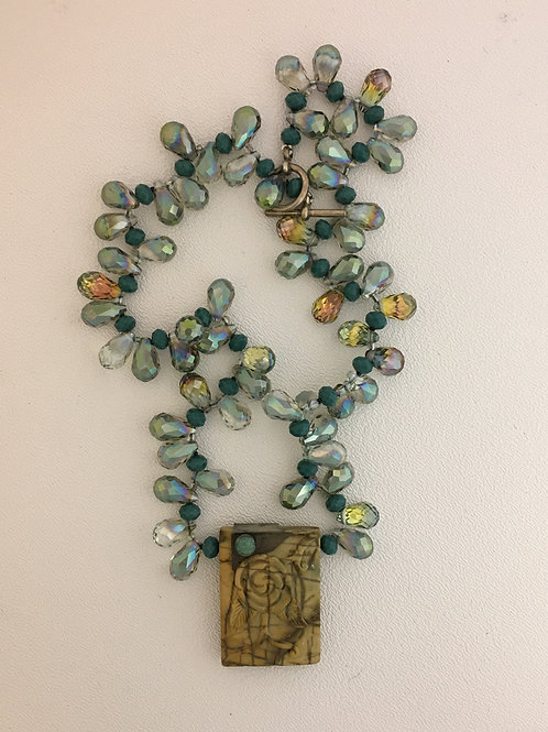 """925, Red Creek Jasper, Green Glass, Turquoise & Chinese Crystal 18"""" Necklace"""