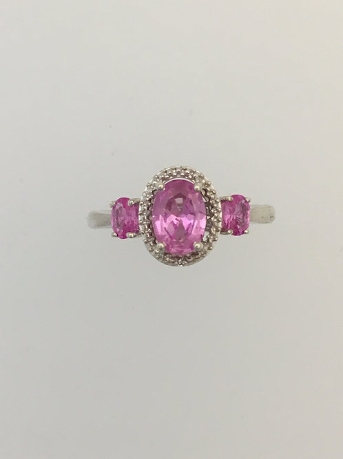 925 & .75 Pink Sapphire/CZ Ring Size - 7
