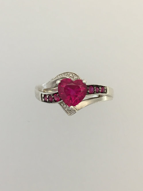 925 Synthetic Ruby & CZ Ring Size - 8