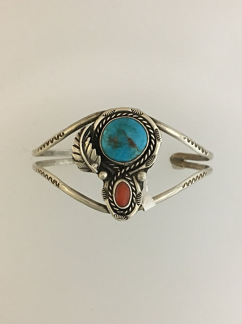 Lady's 925 & Turquoise Coral Cuff Bracelet