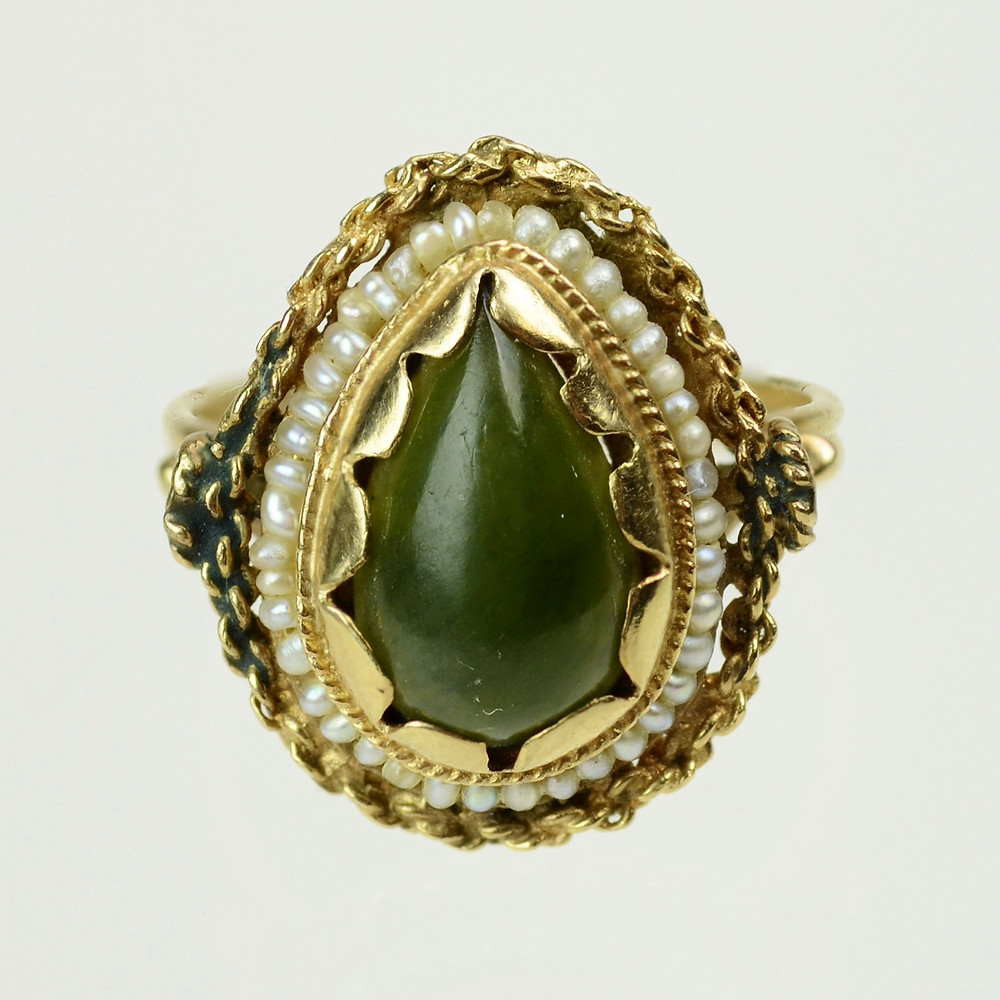 Jade Ring with Seed Pearls