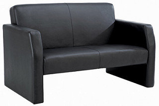 Face Double Leather Seat Sofa Black