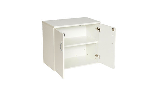 White Desk High Double Door Cupboard With 1 Shelf (WxDxH) 800x450x730mm