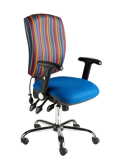 Square back task chair folding arm