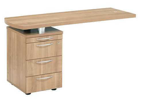 E Space Executive Side Return with 3 Drawer Pedestal Cappuccino