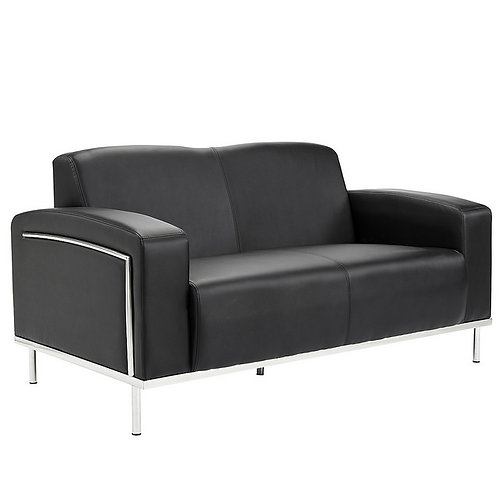 Moonstone Leather Double Seat Sofa Black