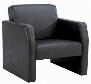 Face Single Leather Seat Sofa Black