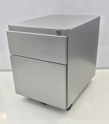 Steelcase silver/grey metal under-desk mobile pedestal