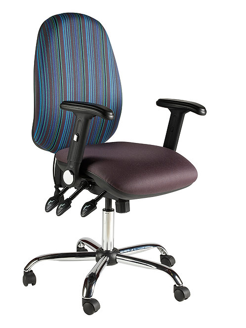 Large back task chair folding arms