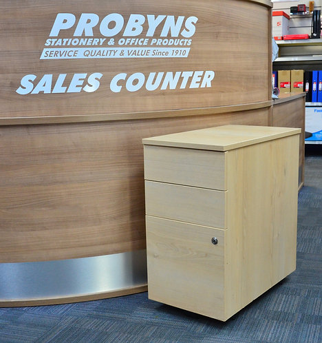 Maple 3 drawer under-desk mobile pedestal