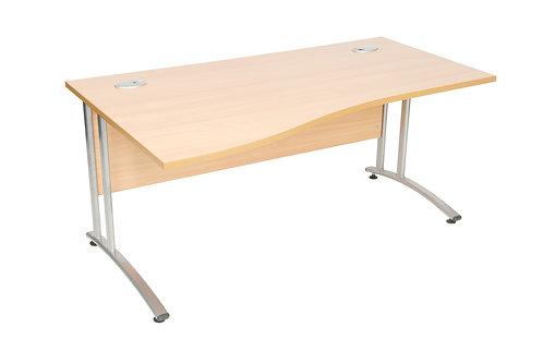 Endurance 1400mm Left Handed Wave Desk Beech (WxDxH) 1400x1000/800x730mm