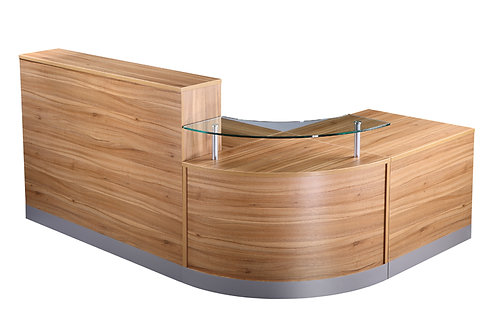 Reception Counter With Glass Shelf (WxDxH) 2400x1600x730-1160mm