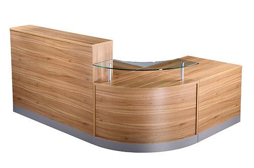 Reception Counter With Glass Shelf (WxDxH) 2400x1600x730-1160mm