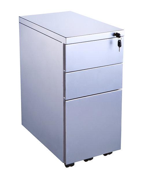 3 Drawer Metal Slimline Mobile Pedestal (WxDxH) 300x500x650mm