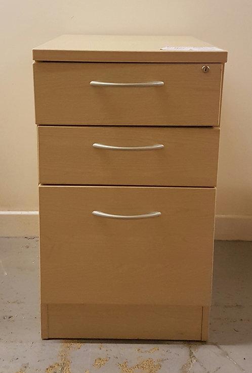 Desk High 3 Drawer Pedestal Maple