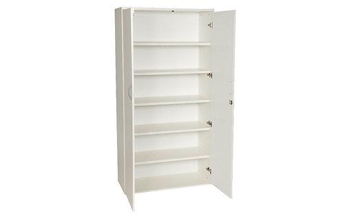 White 2000mm Double Door Cupboard With 5 Shelves (WxDxH) 1000x450x2000mm