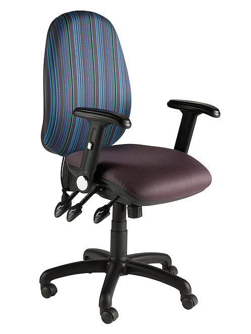 Round back task chair with folding arms