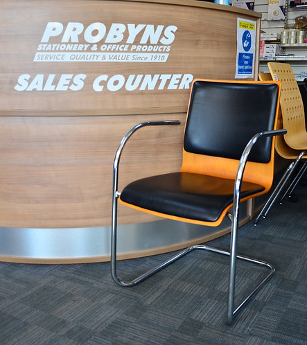 Beech laminate with black leather visitor chairs