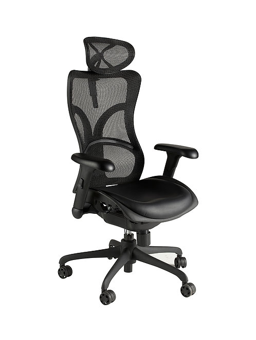 High back shaped mesh chair with headrest