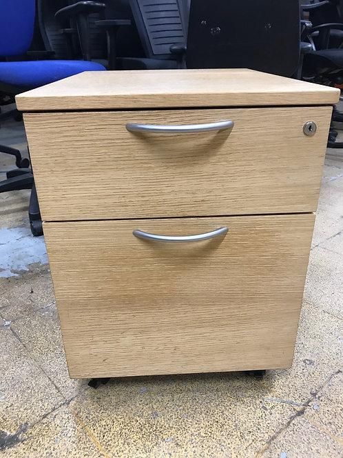 Oak 2 drawer under-desk mobile pedestal