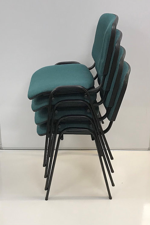 set of 4 Green stacking visitor chairs