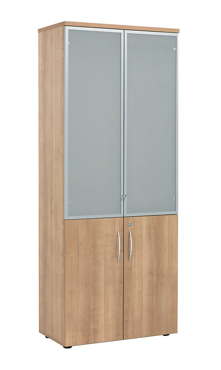 E Space Executive High Storage Glass Doors Cabinet inc 3 Shelves Cappuccino