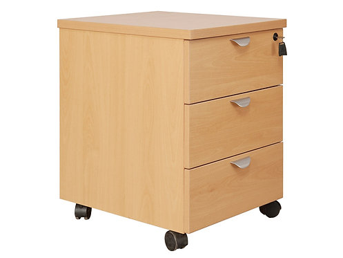 Fraction Low Underdesk 3 Drawer Mobile Pedestal Oak