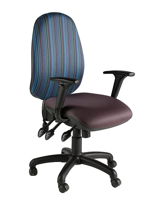 Round back task chair with adjustable arms