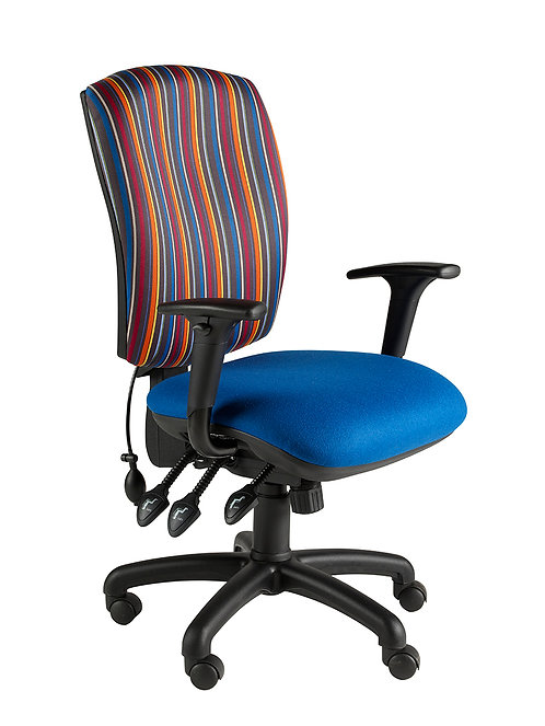 Square back task chair adjustable arms
