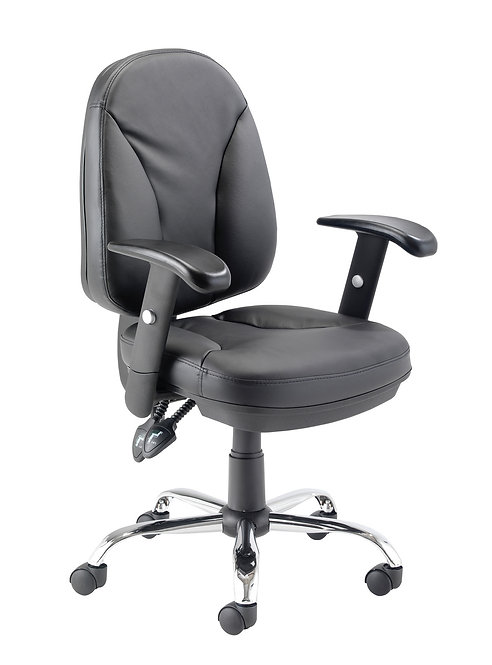 Puma Executive Leather Medium Back Chair Black