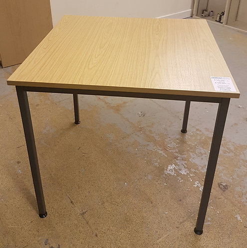 Square Table with Metal Legs Oak