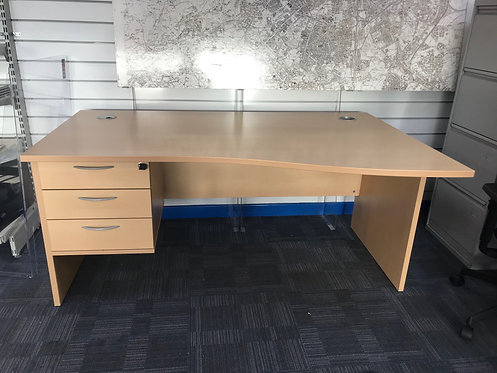Maple 1600mm wave desk with drawers