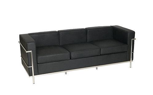 3 Seater LE CORBUSIER Style Sofa Black Faux Leather