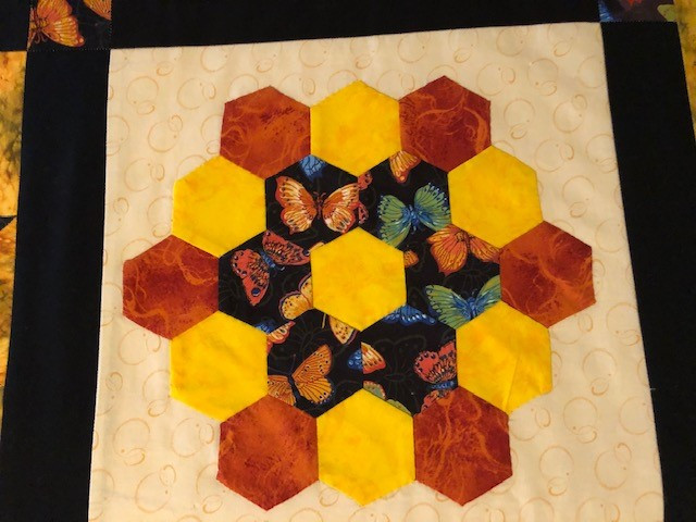 Honeycomb pattern with Butterflies