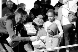 Handing out meals