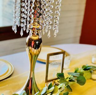 """20"""" tall brass chandelier vase"""
