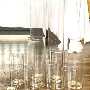 """Cylinder Vases 24"""" to 5"""" various sizes.."""