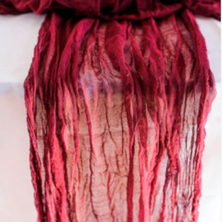 Hand dyed cheesecloth table runners