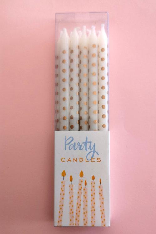 """10 bougies anniversaire """"Pois dorés"""""""