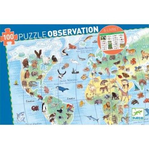 "Puzzle observation Animaux 100 pcs ""Djeco"""