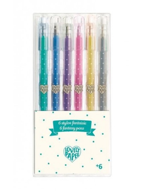 "6 stylos gel pailletés - Lovely Paper by ""Djeco"""