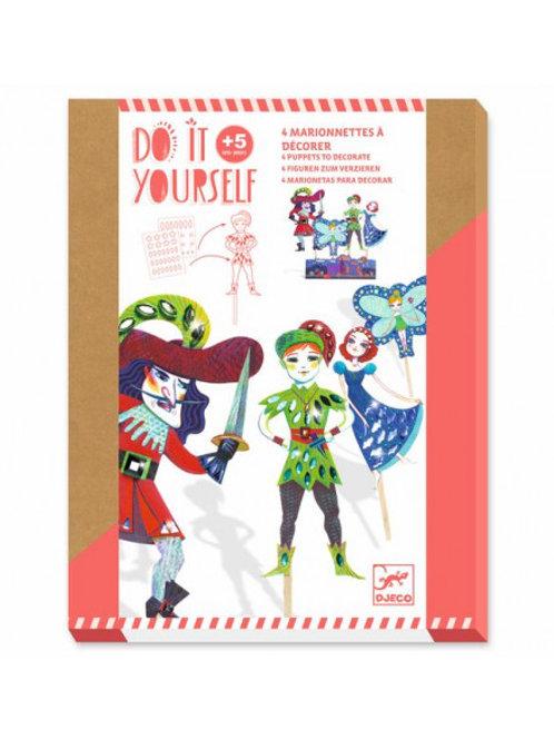 """4 marionnettes à décorer Peter pan """"Djeco"""""""