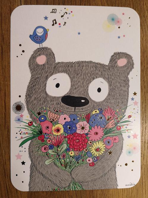 Carte postale: Ours fleurs  - Carte d'art