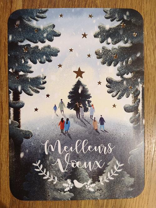 Carte postale: Meilleurs voeux  - sapin - Carte d'art