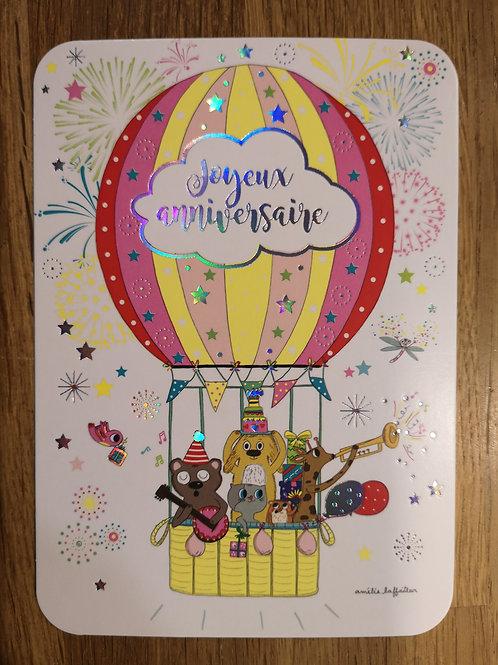 Carte postale: Joyeux anniversaire- Montgolfiere - Carte d'art
