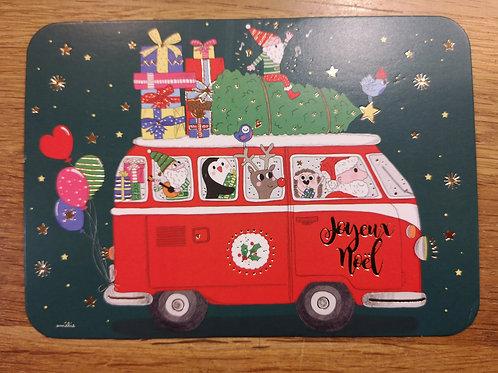 Carte postale: Joyeux Noel  - Bus Pere Noel - Carte d'art